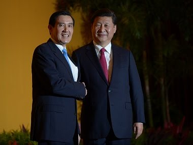 Chinese president Xi Jinping with former Taiwan president Ma Ying-jeou. AFP